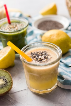 High angle natural smoothie with seeds