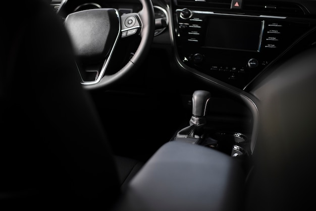 High angle new car interior view
