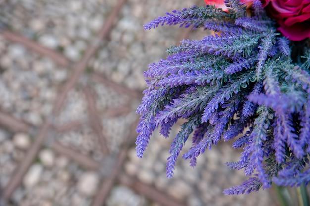Высокий угол красивых цветов лаванды
