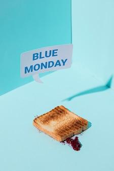 파란색 월요일 개념의 높은 각도