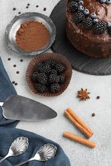 Высокий угол шоколадного торта с черникой и палочками корицы