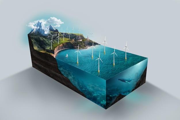 Модель с большим углом наклона для возобновляемой энергии с ветряными турбинами