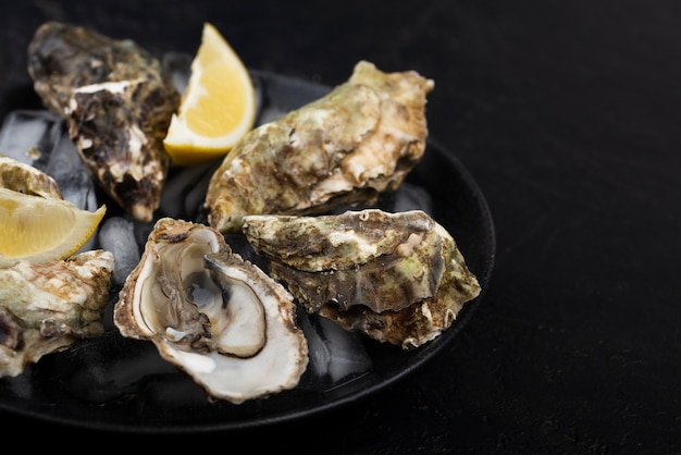High angle of oysters on plate with lemon slice