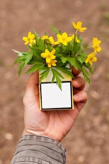 Pacchetto di sigarette ad alto angolo con fiori