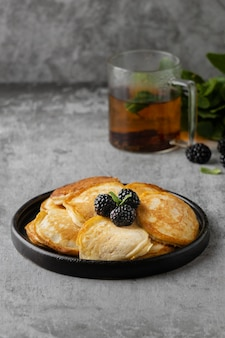 High angle pancakes with blackberries