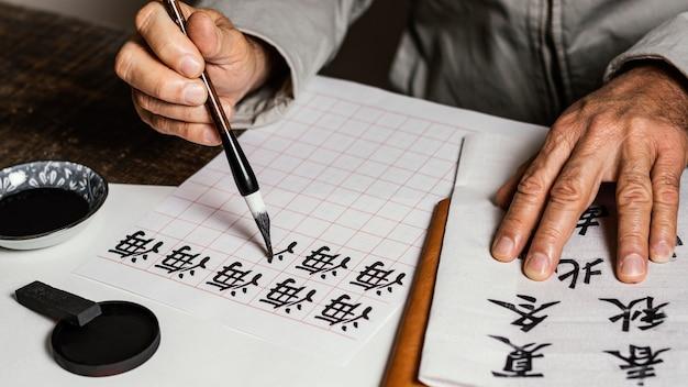 흰 종이에 중국어 기호를 쓰는 높은 각도 사람