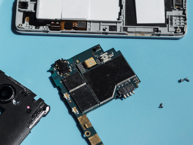 High angle of phone circuit board