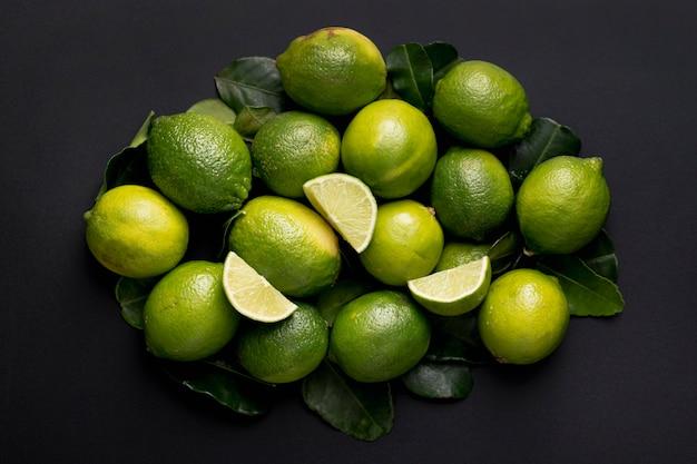 High angle of pile of limes
