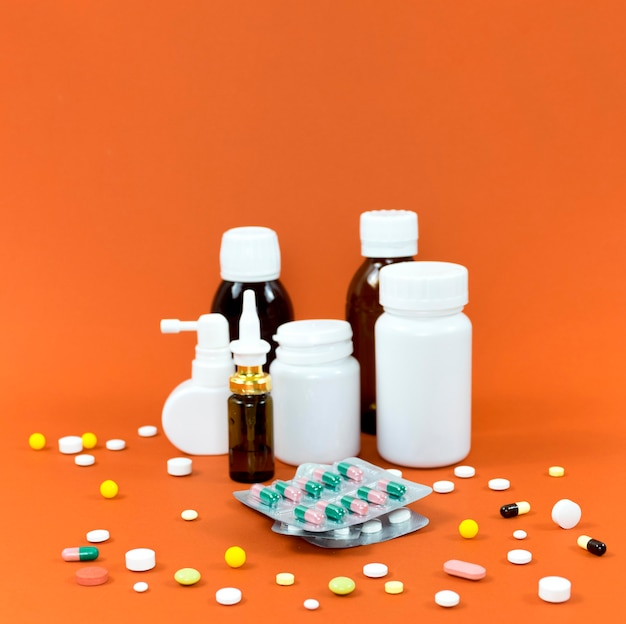 High angle of pill containers with foils