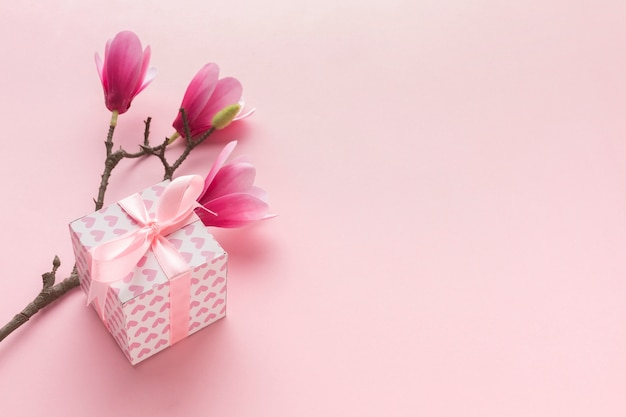High angle of pink gift with magnolia