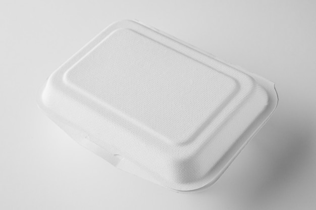 High angle of plastic packaging for food