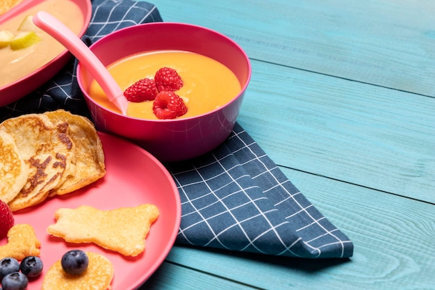 High angle of plate with baby food and fruits