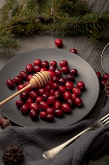 High angle of plate with cranberries and honey dipper