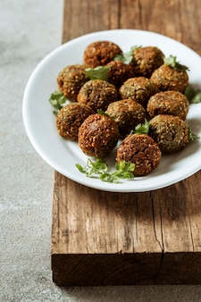 High angle plate with falafel