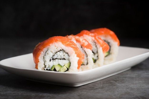 High angle plate with sushi