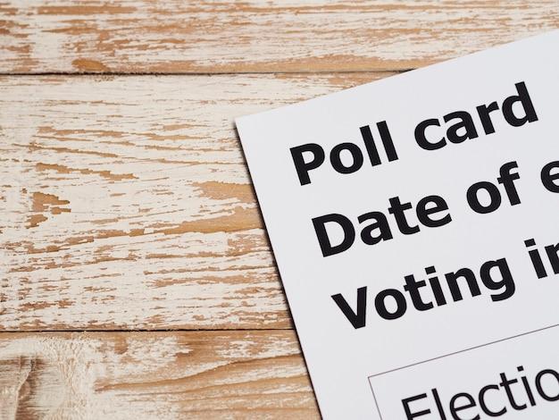 High angle poll card close-up