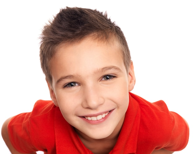 High angle portrait of adorable young happy boy