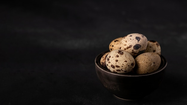 Перепелиные яйца под высоким углом в миске с копией пространства