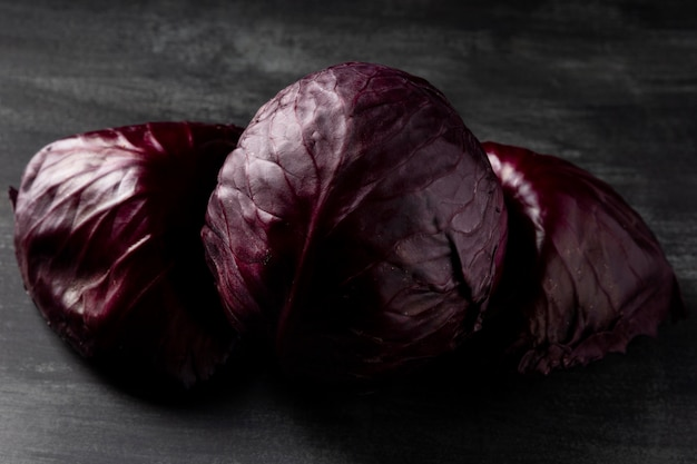 High angle red cabbages on table