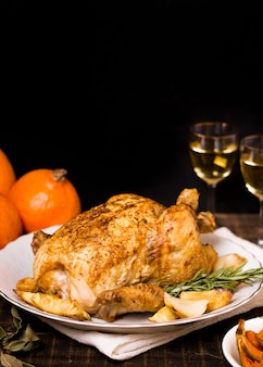 High angle of roasted thanksgiving chicken with copy space