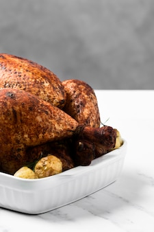 High angle roasted turkey on tray