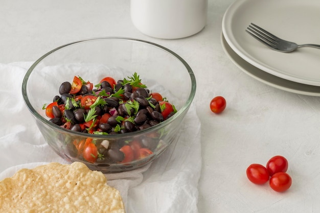 High angle salad with black beans