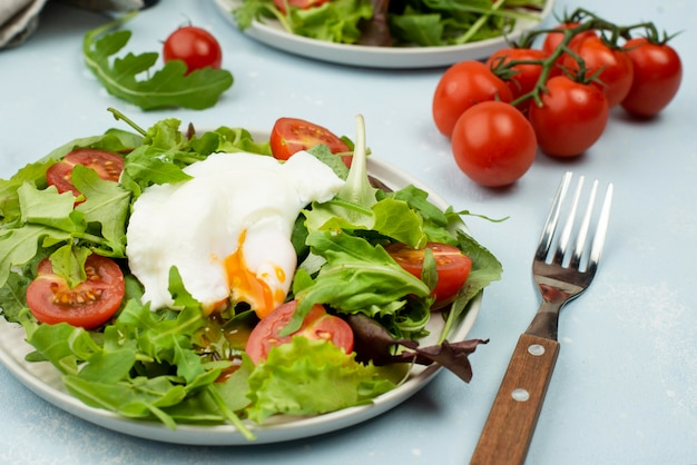 High angle salad with fried egg and cherry tomatoes