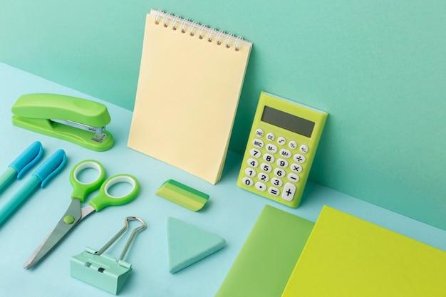 High angle school elements assortment