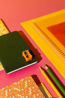 High angle school supplies on the table assortment