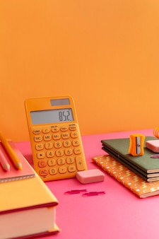 High angle school supplies on the table composition