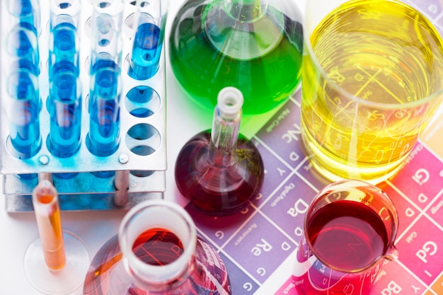High angle science elements with chemicals assortment