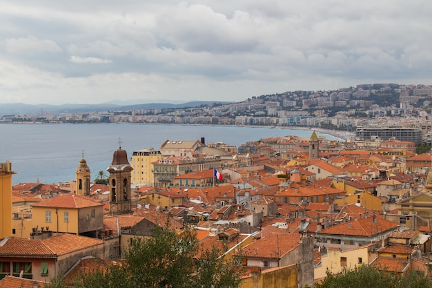 High angle shot of architecture in nice, france at daytime with the ocean