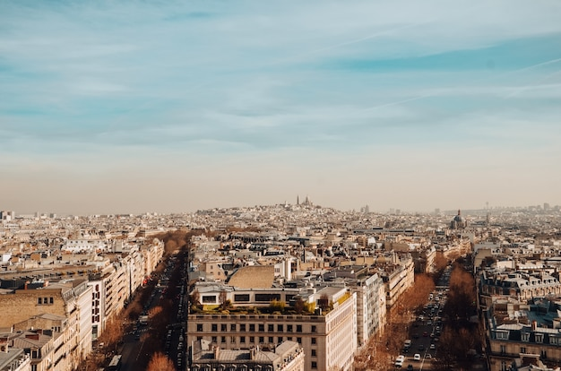 High angle shot of the beautiful buildings and streets captured in paris, france