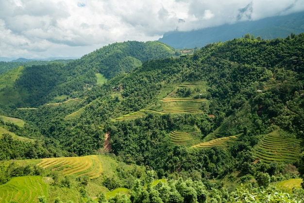 High angle shot of a beautiful green landscape with high mountains under the cloudy sky in vietnam