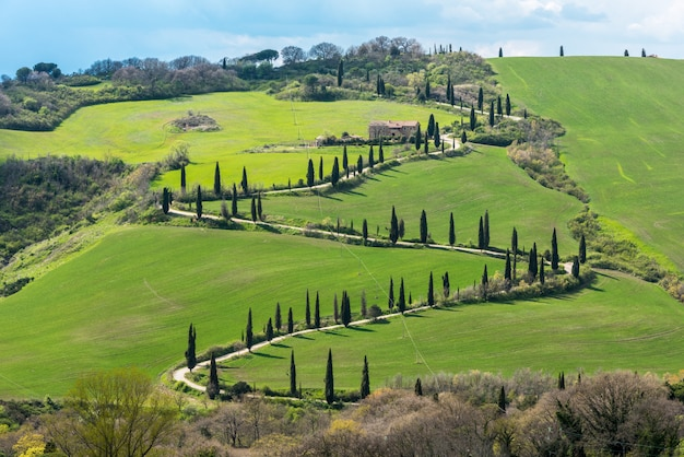 High angle shot of the beautiful  val d'orcia in tuscany