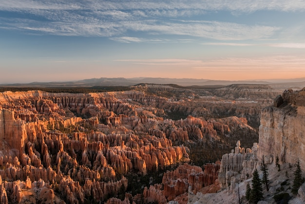 High angle shot of the breathtaking view of bryce canyon, usa - seems like a piece of heaven