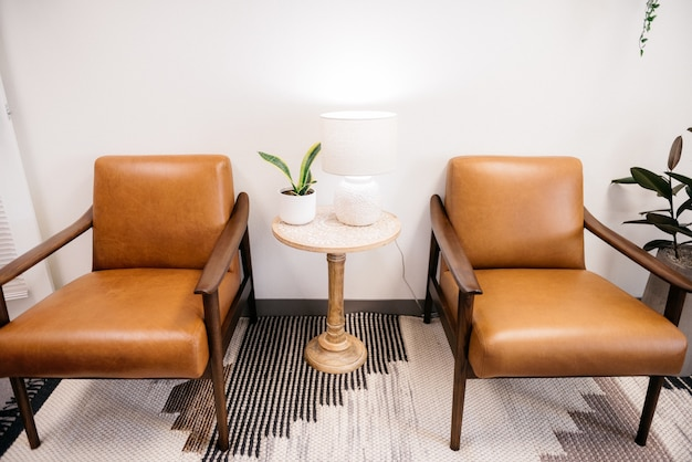 High angle shot of brown chairs with white lamp and a house plant in a table in the living room
