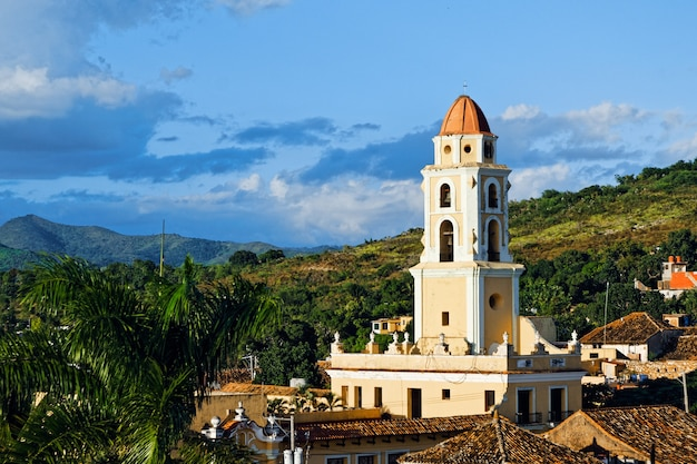 High angle shot of a cityscape with colorful historical buildings in cuba