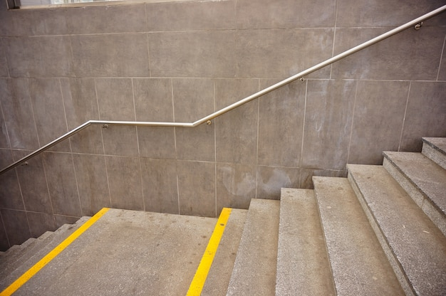 High angle shot of concrete staircases