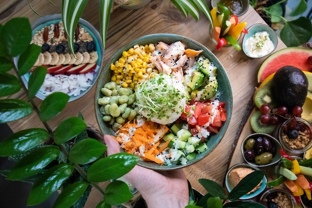 High angle shot of a delicious salad with various sliced vegetables