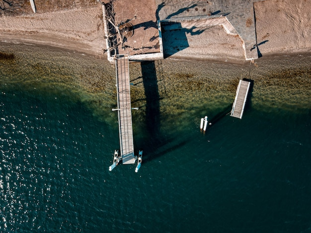 High angle shot of a dock by the sea