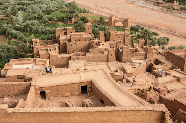 High angle shot of the kasbah ait ben haddou historical village in morocco