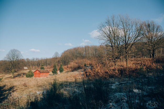 High angle shot of a lonely house with orange walls in the mountains with bare trees in winter