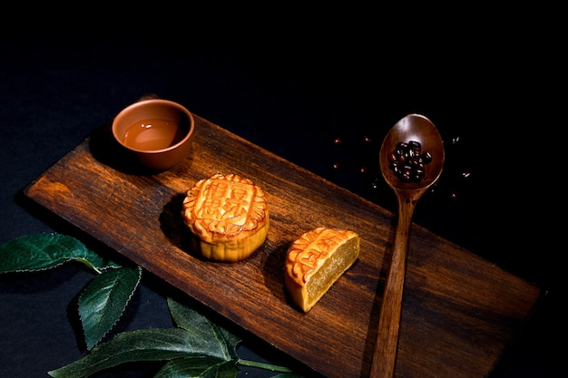 High angle shot of mooncakes on a wooden surface
