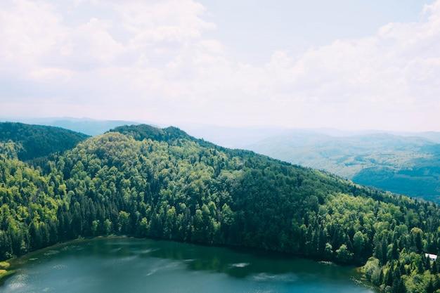 曇り空の下で覆われた山々の木に囲まれた美しい湖のハイアングルショット