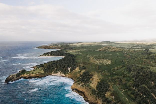 Снимок красивого берега моря с белым облачным небом под высоким углом