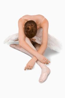 High angle shot of sitting ballerina