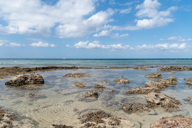 Снимок спокойного берега океана под облачным небом под высоким углом