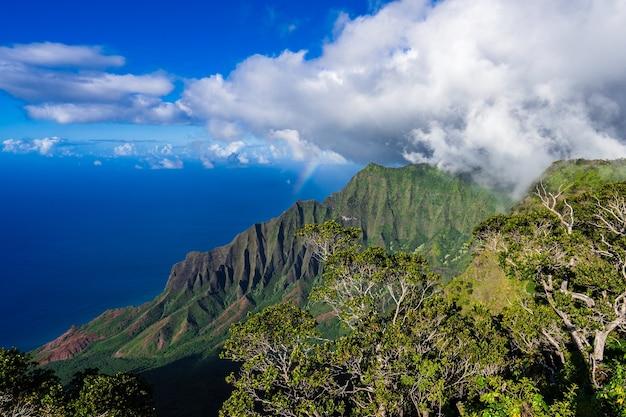 ハワイ州カウアイ島の有名なカララウバレーのハイアングルショット
