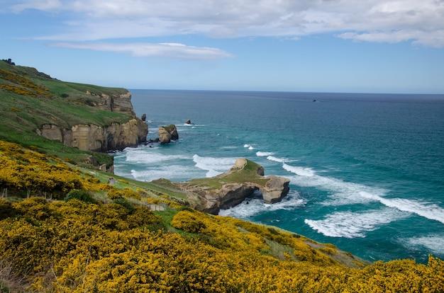 ニュージーランド、ダニーデンのトンネルビーチのハイアングルショット